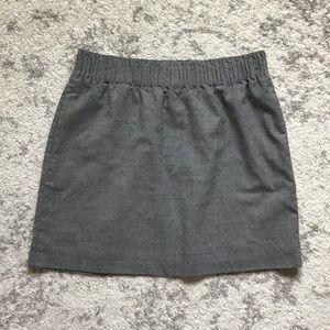 J Crew Grey Paper Bag Stretch Waist Skirt Wool